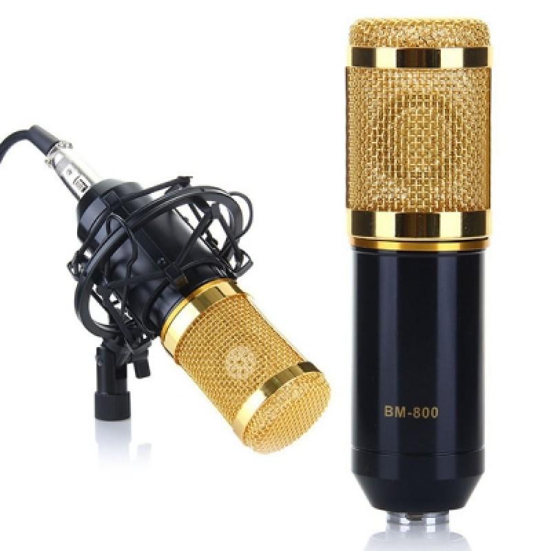 BM-800 Condenser Sound Recording Microphone + Plastic Shock Mount Kit