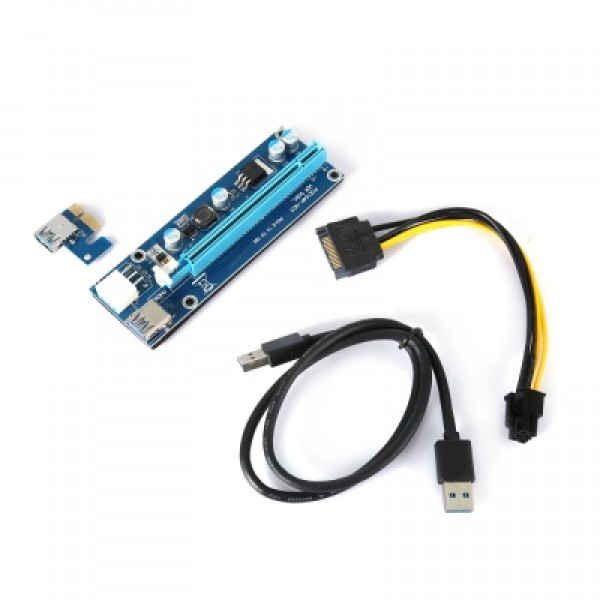 PCI-E 1x to 16x Extender Rise Card DC - DC 12V USB 3.0 Extension Adapter