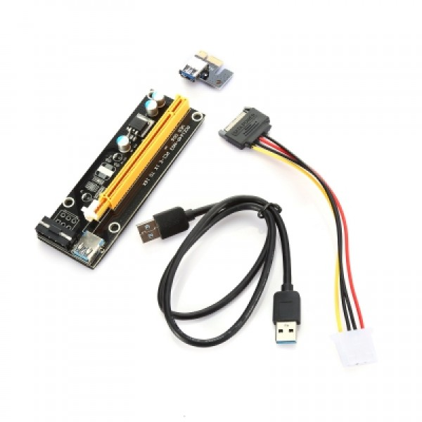 PCI - E 1X to 16X Riser Card + USB 3.0 Extender Cable for Bitcoin Litecoin Miner