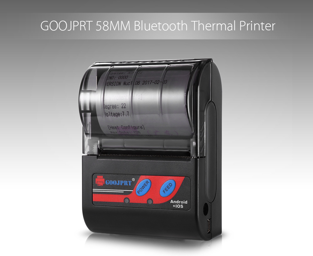 GOOJPRT MTP - II 58MM Bluetooth Thermal Printer Portable Wireless Receipt Machine for Windows Android iOS