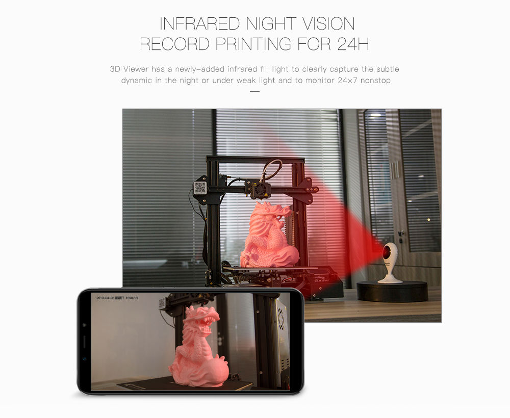 Creality 3D Viewer HD Camera for Printer Remote Control Monitor / Infrared Night Vision / Intelligent Interaction
